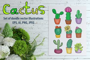 Vector set of hand drawn cacti