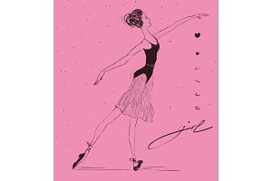 Vector thin ballerina with hearts and Cute Girl lettering.