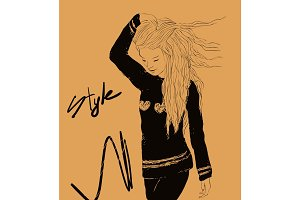 Vector pretty woman with long hair and Style lettering.