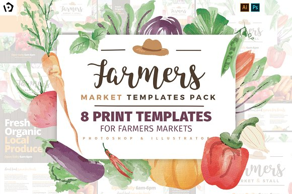Farmers market templates pack flyer templates creative for Stock market ppt templates free download