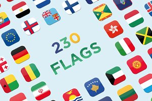 230 Rounded World Flags