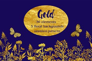 Gold clipart. seamless patterns