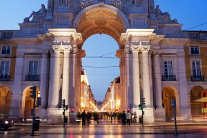 Rua Augusta Arch at Night in Lisbon