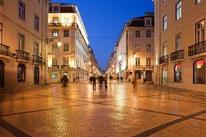 Rua Augusta at Night in Lisbon