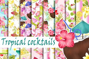 Tropical cocktail digital paper pack