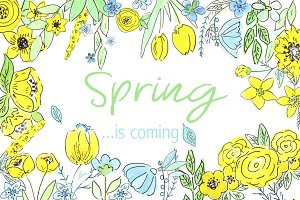 SPRING watercolor clipart, patterns
