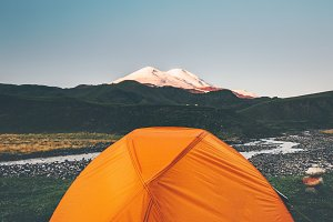 Tent camping and Elbrus Mountain