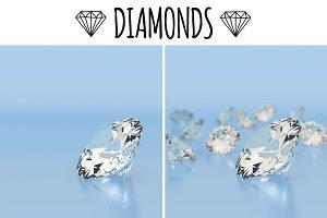 Diamonds on blue background