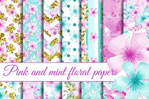 Floral patterns in pink and mint