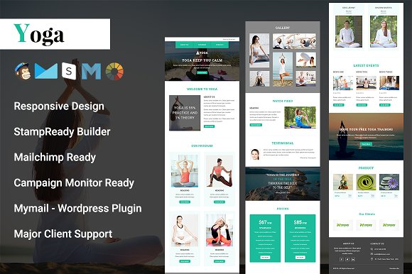 yoga responsive email template email templates on creative market