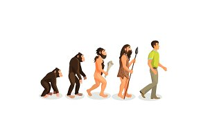 Evolution ape to man process and related concepts.
