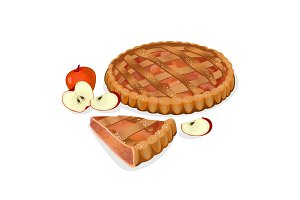 Apple pie with fruits, cut slice isolated. Traditional homemade tasty cake.