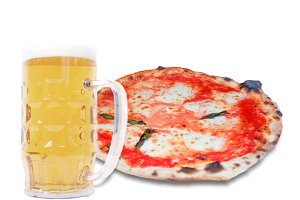 Margherita pizza and Beer with copy space