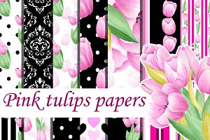 Pink tulips digital seamless pattern