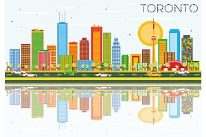 Toronto Skyline with Color Buildings