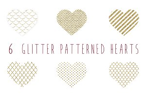 Glitter patterned gold hearts clip a