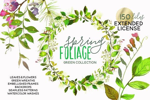 watercolor green leaves wreaths set illustrations creative market