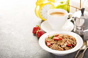 Multigrain healthy cereals with fresh strawberry