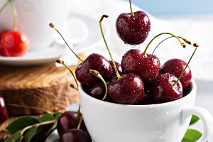 Fresh red sweet cherry