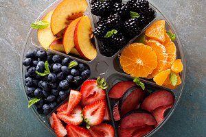 Assorted fruit and berries on a plate
