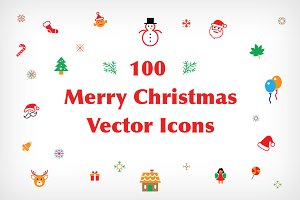 100 Merry Christmas Vector Icons