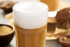Hot latte with thick foam