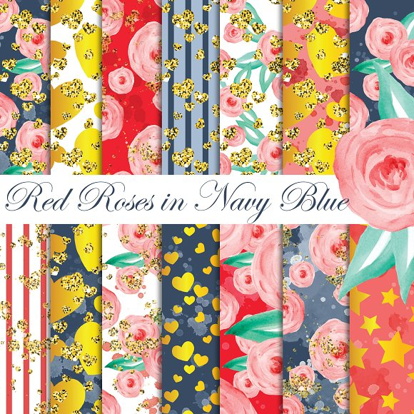 Red Navy Digital Papers Pack