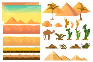 Desert Landscape Elements+background