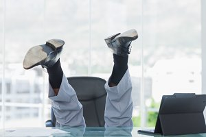 Business getting crazy falling from his swivel chair