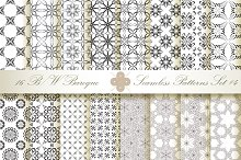 16 B&W Seamless Baroque Florals #4