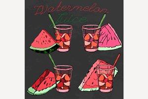 Hand Drawn Watermelon Juice