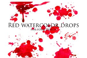 Red watercolor drops