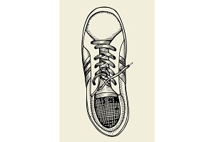 top sneakers drawn sketch