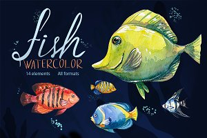 Watercolor aquarium fish