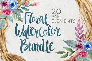 Floral and Wreath Watercolor Bundle