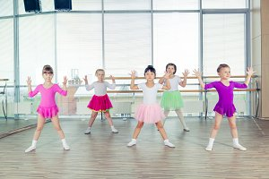 happy children dancing on in hall, healthy life, kid's togetherness and happiness concept