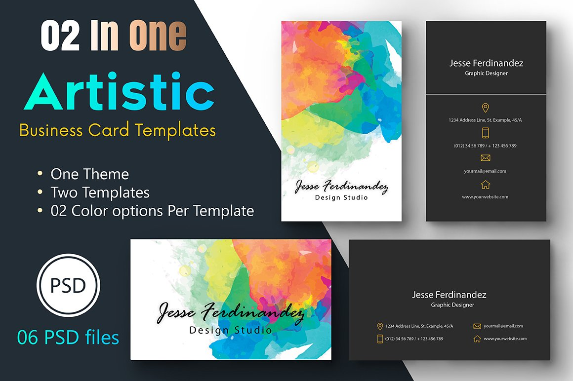 Artistic Business Card Template-005 ~ Business Card Templates ...