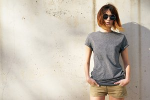 Female hipster wearing gray t-shirt