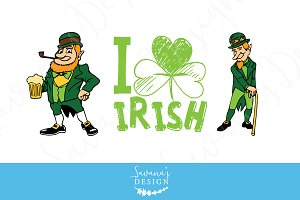 Leprechaun and I heart Irish Clipart