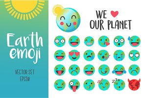 Set of cute Earth emoji in vector