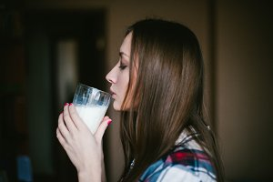 Girl drinks milk