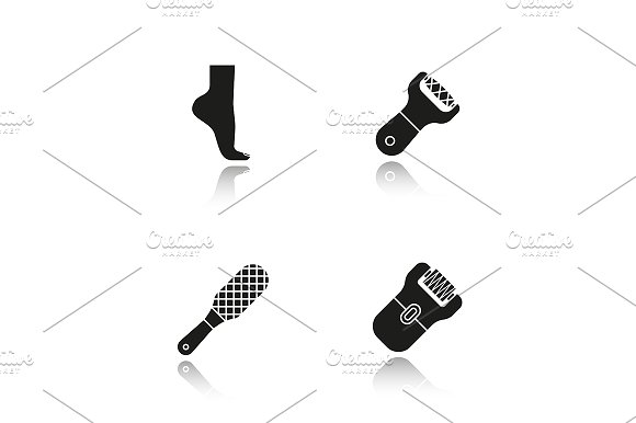 Feet Care 4 Icons Vector