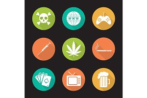 Bad habits. 9 icons. Vector