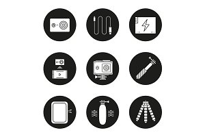 Action camera. 9 icons. Vector