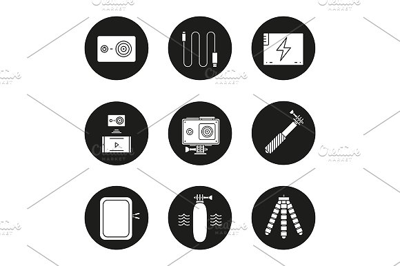 Action Camera 9 Icons Vector