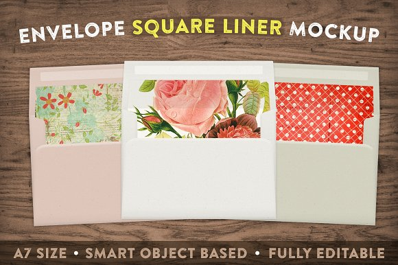 Free Envelope Square Liner Mockup