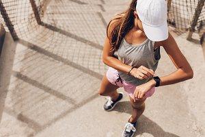 Female runner looking