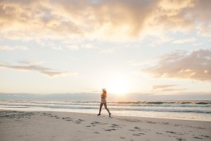 Healthy female jogging