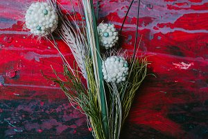 Bouquet of flowers on a red background