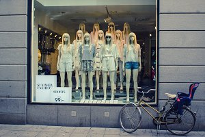 Showcase of a  clothing store